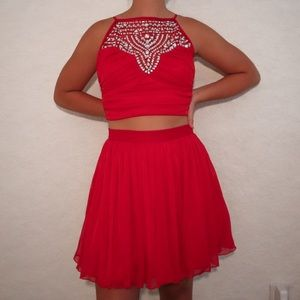 Red Two-Piece Dress with Jewels
